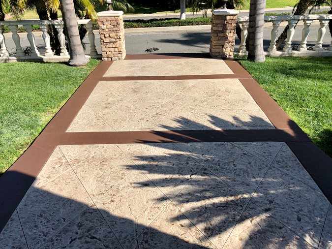 Stamped Overlay, Old Granite Site KB Concrete Staining Norco, CA
