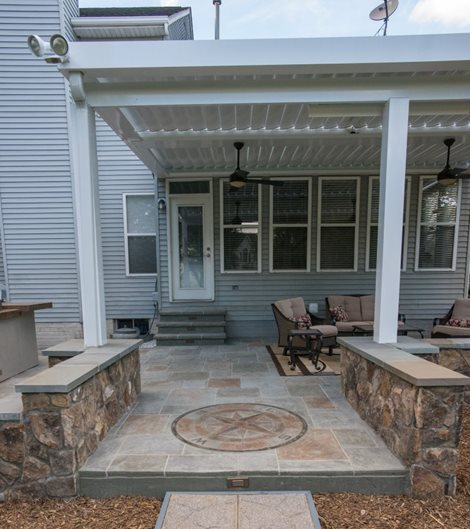 Stamped Patio, Compass Pattern Site Salzano Custom Concrete Aldie, VA