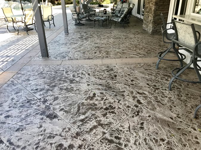 Stamped Porch, Porch After Site KB Concrete Staining Norco, CA