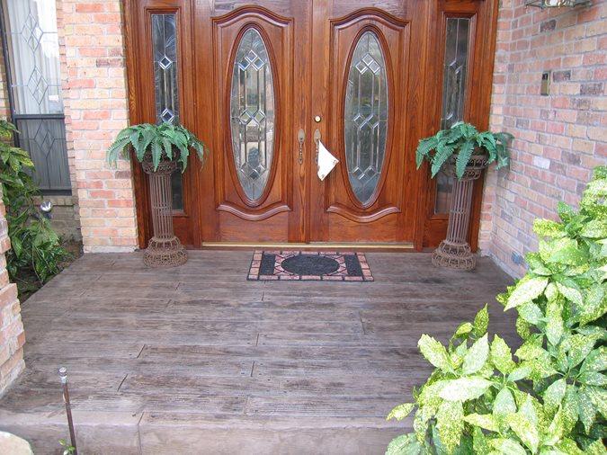 Stamped Porch, Wood Concrete Site Sublime Concrete Solutions LLC. Plano, TX