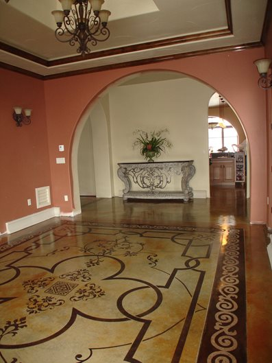 Stenciled Floor, Stained Floor, Patterned Floor Site Image-N-Concrete Designs Larkspur, CO