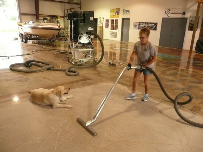 Vacuuming After Saw Cuts Site Decorative Concrete Institute Temple, GA