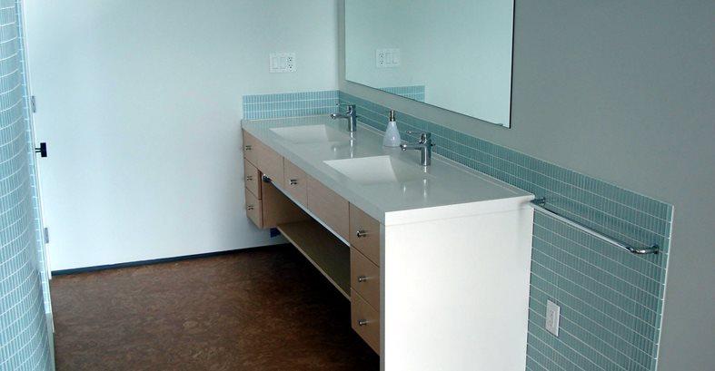 Bathroom, Double Sinks, White Architectural Details Evolution Architectural Concrete Essex, CT