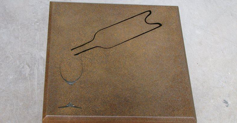 Concrete Table, Glass And Bottle Detail Architectural Details Lampe Concrete Studio San Marcos, CA
