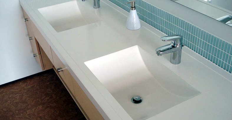 Double Sink, White Sink, Concrete Sink Architectural Details Evolution Architectural Concrete Essex, CT