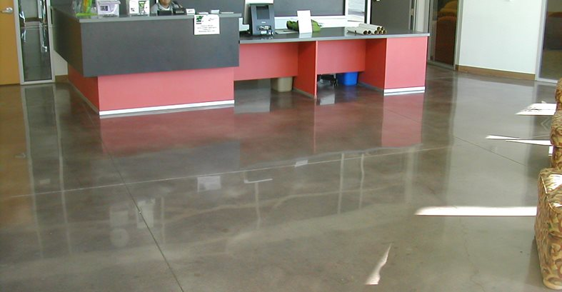 Concrete office flooring the concrete network for Floor decoration ideas office