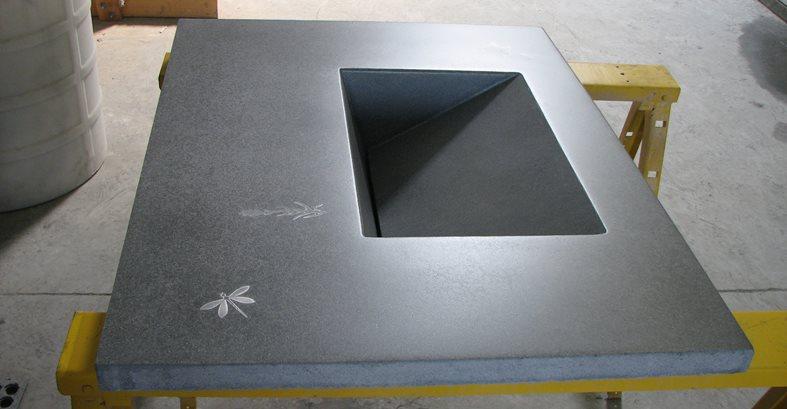Grey Counter, Slotted Drain Sink Concrete Countertops Lampe Concrete Studio San Marcos, CA