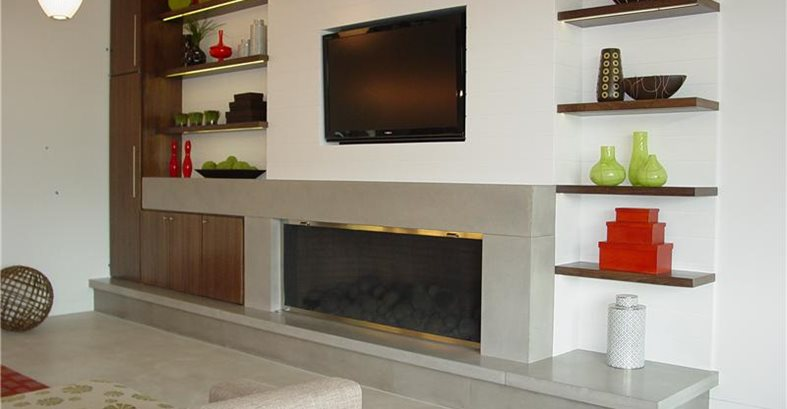 Concrete Counters Amp Fireplace Surround Serve As Integral