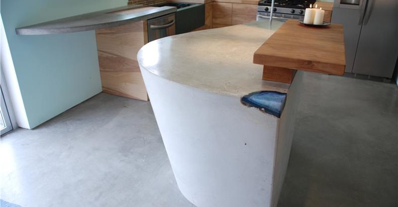 Light Grey, Modern Counter, Modern Kitchen Insland Concrete Countertops DC Custom Concrete San Diego, CA