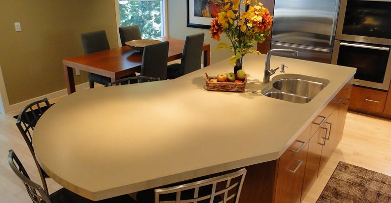 Seamless Island Counter Concrete Countertops Hard Topix Jenison, MI