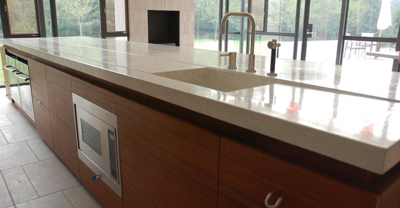 Colored concrete countertop size and shape defines unique for 2 thick granite