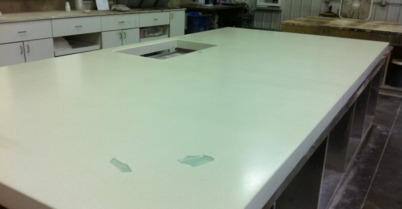 White Concrete Island, Casting Table Concrete Countertops Hard Topix Jenison, MI