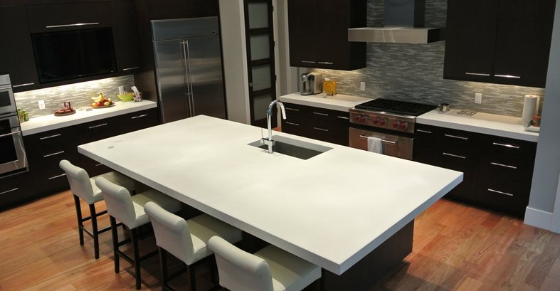 White, Island, Kitchen Concrete Countertops Hard Topix Jenison, MI