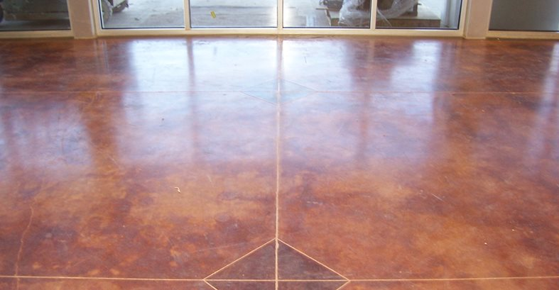 Brown Stained Floor Concrete Floors Solid Rock Concrete Services Gravette, AR