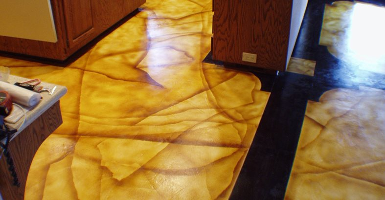 Dyed Concrete Flooring : Kitchen floor designs and benefits of using concrete