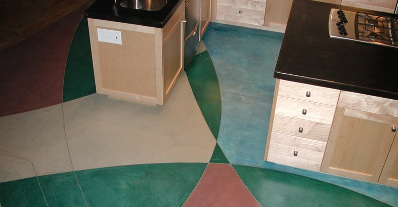 Geometric Design, Colorful Concrete Floors Diamond D Company Capitola, CA