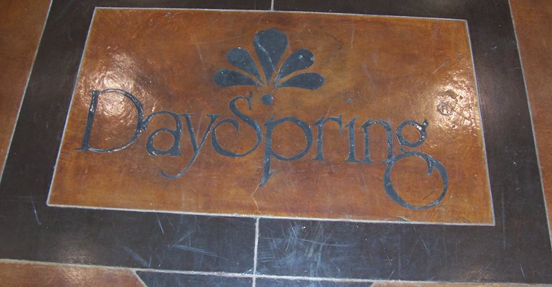 Logo In Stained Floor Concrete Floors Solid Rock Concrete Services Gravette, AR