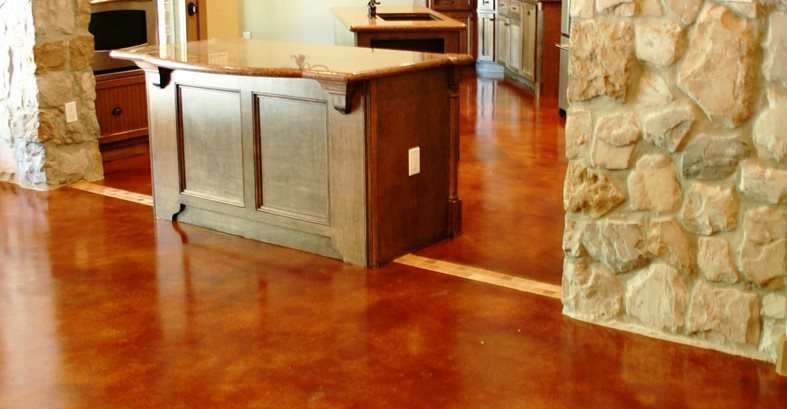 Red Stained Floor Concrete Floors Peyton & Associates Montgomery, TX