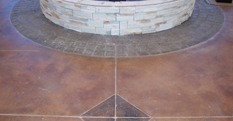 Brown Floor, Pavers, Fountain Site Solid Rock Concrete Services Gravette, AR