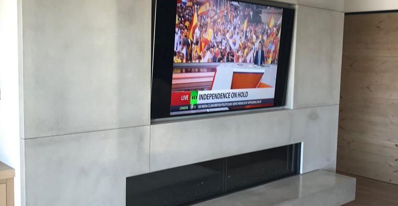 Concrete Fireplace, Mounted Tv Site DC Custom Concrete San Diego, CA