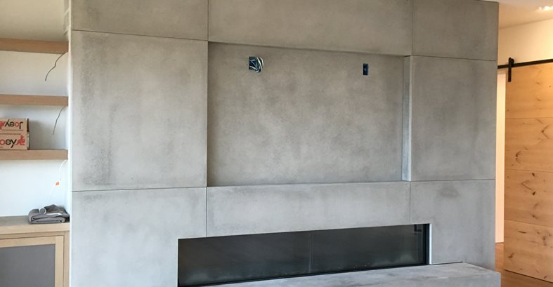 Fireplace Tv Mounting Site DC Custom Concrete San Diego, CA