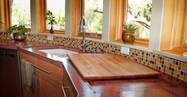 Kitchen Sink, Red Architectural Details Flowstone Concrete Studio Sacramento, CA