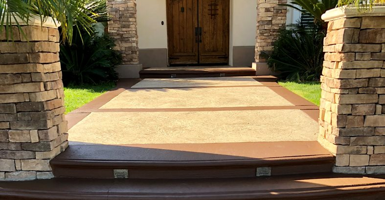 Front Entryway, Concrete Overlay Site KB Concrete Staining Norco, CA