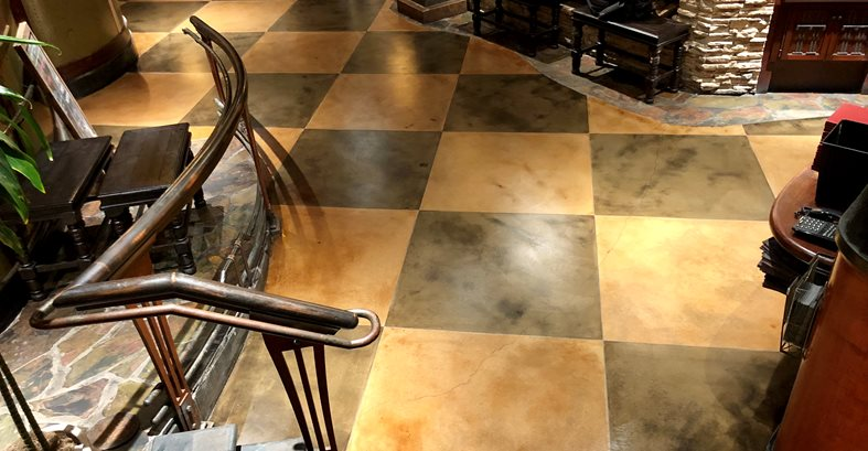 Stained Concrete, Restaurant Floor, Palm Springs Site KB Concrete Staining Norco, CA