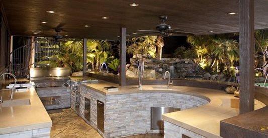 户外,厨房工地飞龟浇铸混凝土莫德斯托,加州