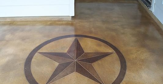 Star, Stained, Brown, Stencil Site KDA Custom Floor Co. Katy, TX