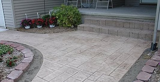 Entry, Flowers, Stamped Concrete Stamped Concrete Five Star Concrete Solutions Howell, MI