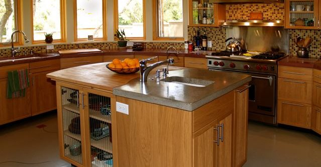 Kitchen Island Concrete Countertops Flowstone Concrete Studio Sacramento, CA