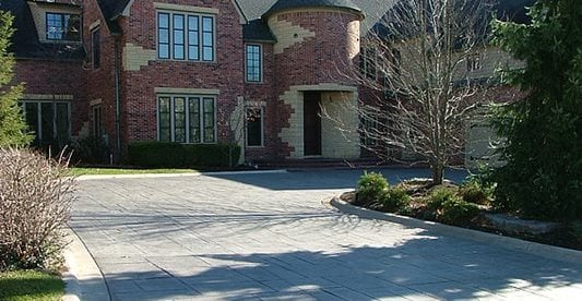Mansion, Driveway, Stamped, Trees Concrete Driveways Vento Decorative Concrete Livonia, MI
