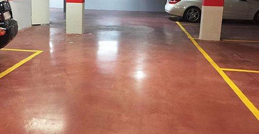 Garage, Stained, Red Concrete Walkways Heidelberg Construction, LLC Bethesda, MD