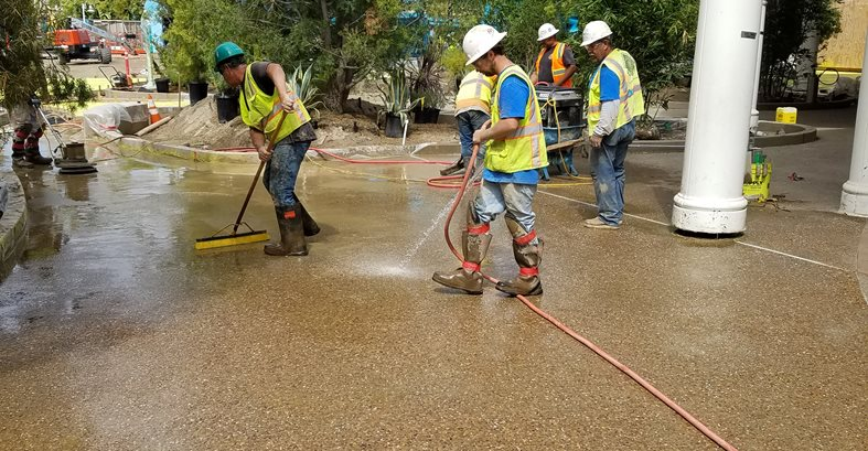Exposing Aggregate, Seaworld Site Concepts In Concrete Const. Inc. San Diego, CA