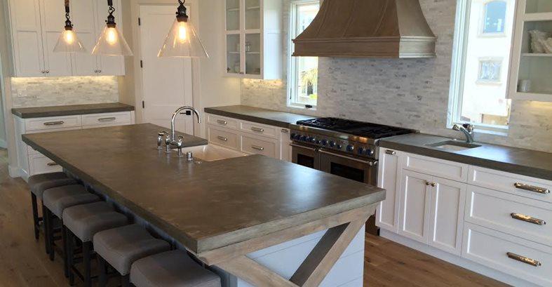 大厨房岛,法国乡村混凝土台面混凝土艺术Encino, CA