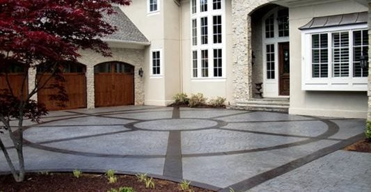 Garage, Stained, Stamped, Design, Home Concrete Driveways Greystone Masonry Inc Stafford, VA