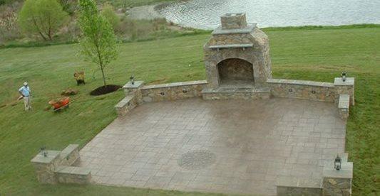 Fireplace, Patio, Grass, Pond Concrete Patios Cornerstone Foundations Culpeper, VA