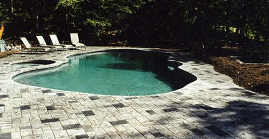 Shade, Stamped, Pool Deck Concrete Pool Decks Lasting Impressions LLC Chelmsford, MA