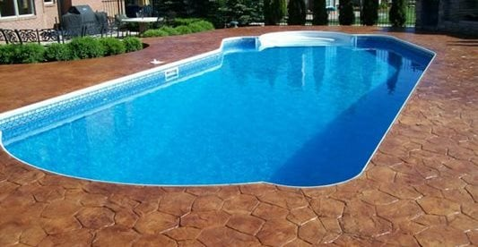 Stamped, Stained, Pool Deck, Trees Concrete Pool Decks ML&H Inc Orion, MI