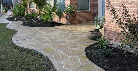 Walkway, Stamped, Plants Site Increte of Houston Stafford, TX