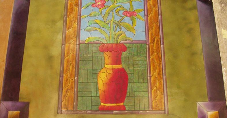 Flowers, Painted Artistic Concrete Decorative Concrete Institute Temple, GA