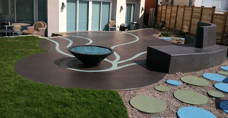 Artistic Patio, Blue Concrete Commercial Floors Suncoast Concrete Coatings Inc San Diego, CA