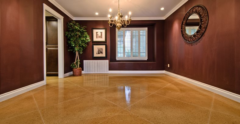 Concrete, Floor, Living Room, Diamond, Tan Commercial Floors ACI Flooring Inc Beaumont, CA