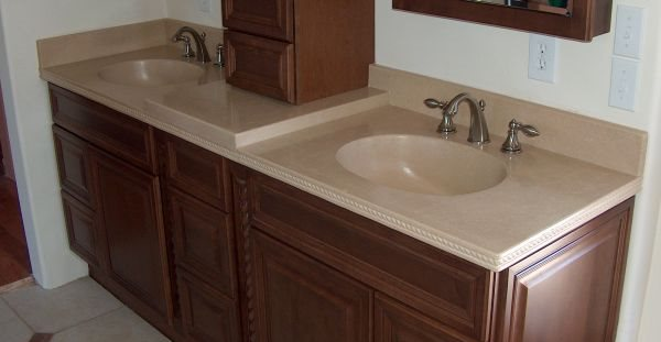 Bathroom Sink, Detailed Edge Concrete Countertops Lampe Concrete Studio San Marcos, CA
