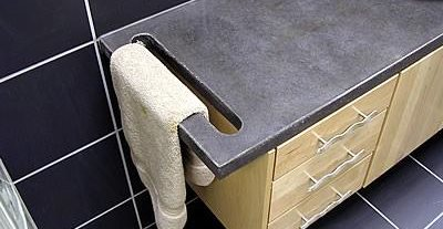 Towel Hanger, Slate Concrete Countertops Liquid Stone Designs Lenexa, KS
