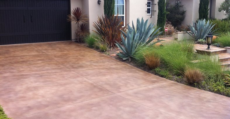 Brown Colored Driveway Concrete Driveways Infinity Concrete Coatings Newport Beach, CA