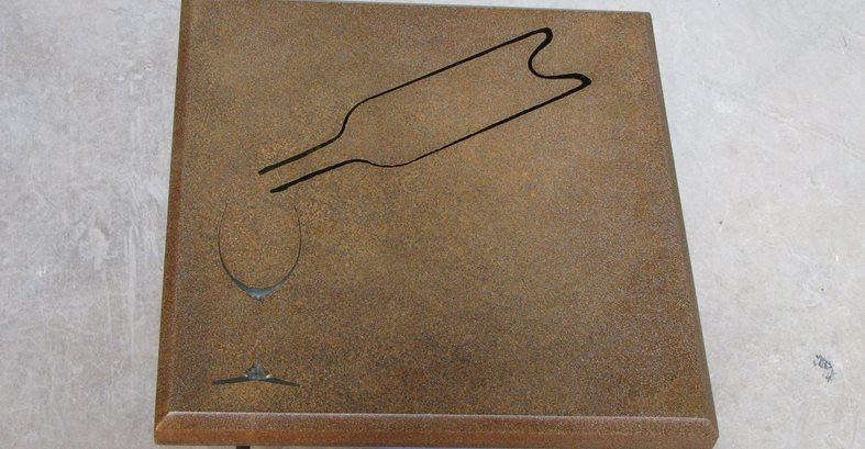 Concrete Table, Glass And Bottle Detail Concrete Driveways Lampe Concrete Studio San Marcos, CA
