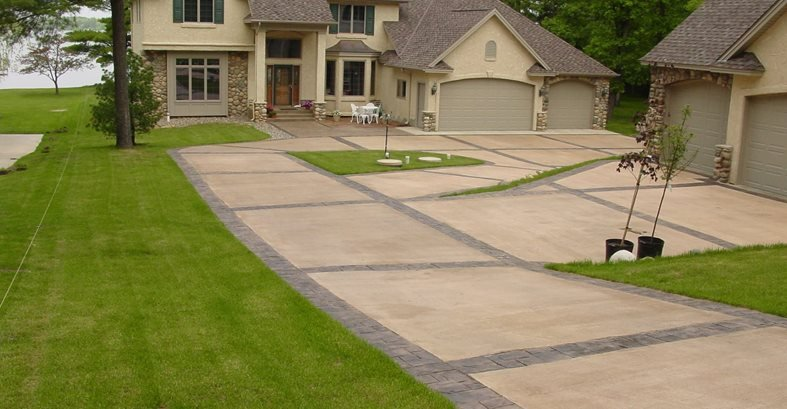 Light, Dark Border Concrete Driveways Verlennich Masonry and Concrete Staples, MN