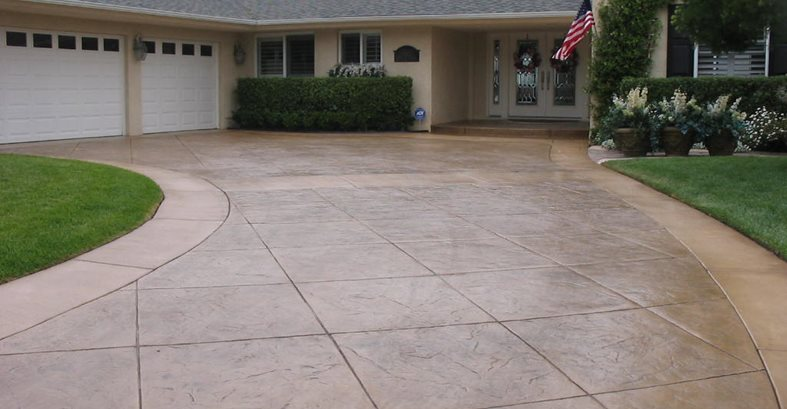Stamped concrete driveways the concrete network for Cement driveway ideas